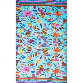 Happy scarf Turquoise coton